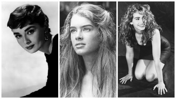 The famous eyebrows of Audrey Hepburn, Brooke Shields and Julia Roberts.