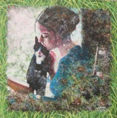 Girl and cat. 50x50cm, acrylic-paint on fabric, 2012. Ill: Private