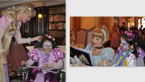 Finally meeting Rapunzel. Cinderella was there too. Photos: Sylvie's husband Toni