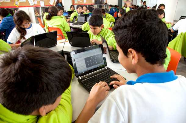 Khan Academy in the classrom in Peru. Courtesy of Khan Academy