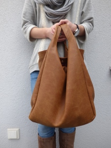 Leather hobo brown bag VankDesign