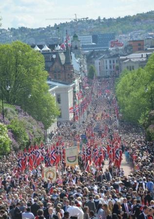 The parade on Oslo's main street Karl Johan.