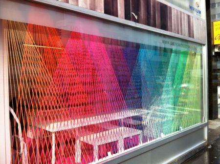 Yarn installation for a window display