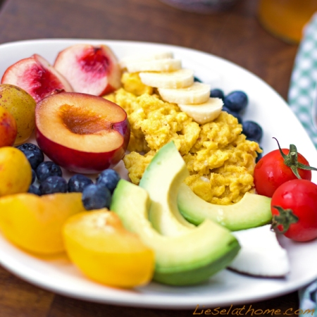 Colorful breakfast plate