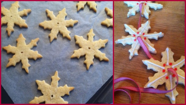Biscuit snowflakes garland