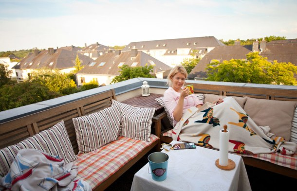The author enjoying balcony life in Luxembourg. Photo: Peter Fuchs