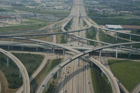 Katy Freeway with its spaghetti junctions looks like a raceway for kids, but it's serious business. (Photo: Wikimapia)
