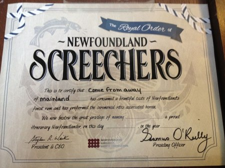 Screech in diploma issued at bars and pubs in St. John's